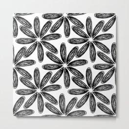 Ballpoint Flower Pattern Metal Print