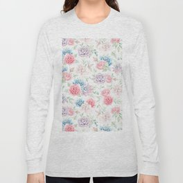 Blush pink teal watercolor hand painted cactus flowers Long Sleeve T-shirt