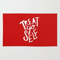 treat yo self Area & Throw Rugs featuring Treat Yo Self: Holiday Edition by Leah Flores