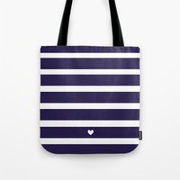 preppy Tote Bags featuring PREPPY STRIPES by Anna Eve