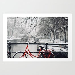 Red Bike in the Snow Art Print