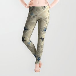 Gray beige patchwork Leggings