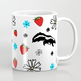 Skunk, Flowers, and Strawberry Pattern Cute Quirky Whimsical Coffee Mug