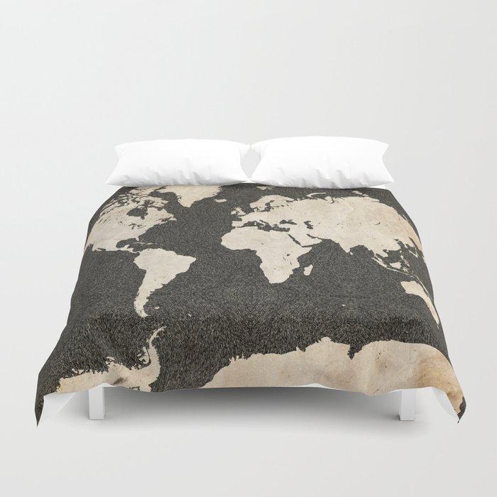 world map ink lines duvet cover