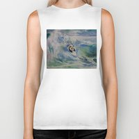 surfer Biker Tanks featuring Panda Surfer by Michael Creese
