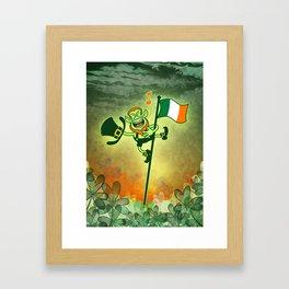 Leprechaun Singing on an Irish Flag Pole Framed Art Print