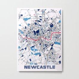 Newcastle - United Kingdom MilkTea City Map Metal Print