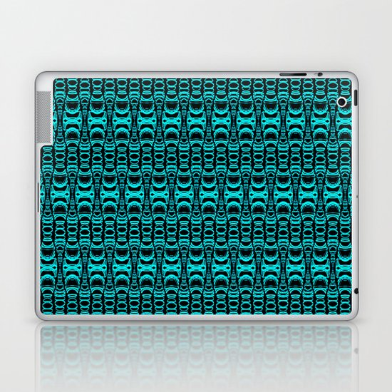 Abstract Pattern Dividers 07 in Turquoise Black Laptop & iPad Skin