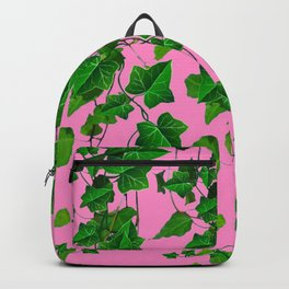 GREEN IVY HANGING LEAVES & VINES ON PINK Backpack