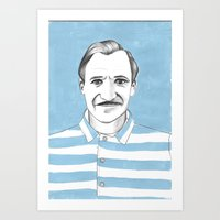 the grand budapest hotel Art Prints featuring Ralph Fiennes. The Grand Budapest Hotel.  by Elena O'Neill