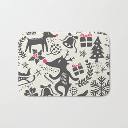 Christmas pattern with gift boxes and snowflakes. Bath Mat