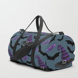 Happy halloween pattern with witch hats, bats and sweets Duffle Bag