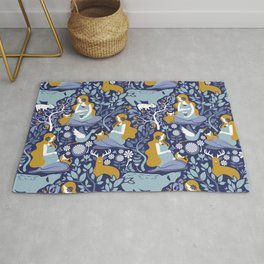 Mother Nature Scandinavian Inspiration // navy background blue and yellow mustard details Rug