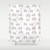 bikes Shower Curtains featuring bikes by ilusland .:. marcelo BAdARI
