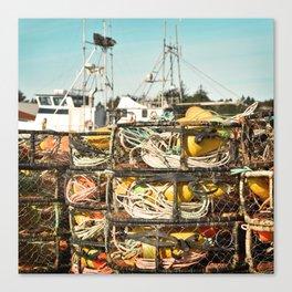 Crab Pot Photograph, Ilwaco Washington Harbor, Northwest Fisherman Boat Photo, Crabber, Seafood Canvas Print