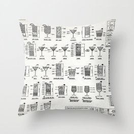 COCKTAIL poster, cocktail chart print Throw Pillow