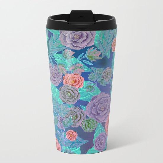Vintage Flowers (Blue) Metal Travel Mug