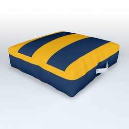 Slate Blue and Golden Yellow Stripes Outdoor Floor Cushion