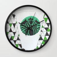 starbucks Wall Clocks featuring Starbucks Mermaid  by Clawson Creatives