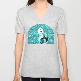 Playful Polar Bear In Turquoise Water Design Unisex V-Neck