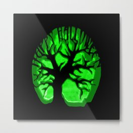 Happy HaLLoween Brain Tree : Green & Black Metal Print