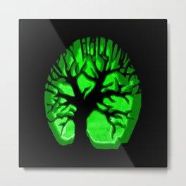 Happy HaLLoween Brain Tree : Green & Black Metal Print