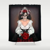 dia de los muertos Shower Curtains featuring Dia de los Muertos by Digital Curiosity Designs