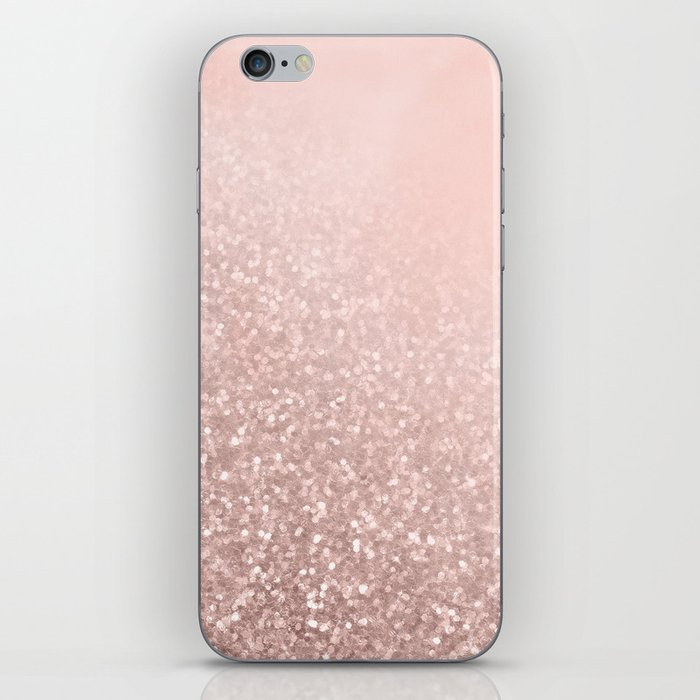 Rose Gold Sparkles on Pretty Blush Pink VI iPhone Skin