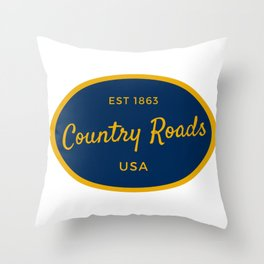 Country Roads West Virginia Vintage Print Throw Pillow