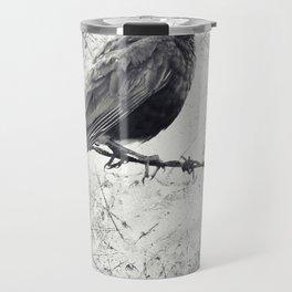 American Robin Bird on Barbed Wire Fence Grunge Travel Mug