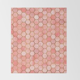 Coral and Gold Hexagonal Geometric Pattern Throw Blanket