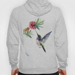 Hummingbird. elegant bird and flowers, minimalist bird art beautiful bird painting Hoody