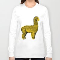 alpaca Long Sleeve T-shirts featuring huacaya alpaca by youareconstance