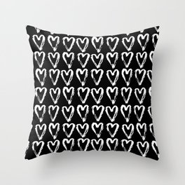 Black & White-Love Heart Pattern- Mix & Match with Simplicty of life Throw Pillow