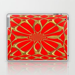 Modernistic Red-Gold Metallic Floral Web Art Design Laptop & iPad Skin