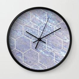 Botanico Porpora - purple marble hexagons Wall Clock