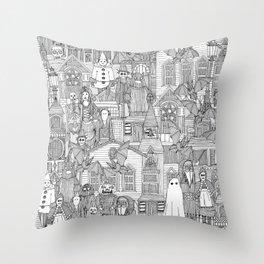 vintage halloween black white Throw Pillow