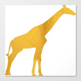 Giraffe Silhouette in Bold Gold Canvas Print