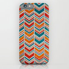 Teal, Red and Goldenrod chevron Slim Case iPhone 6s