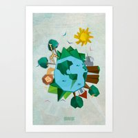 planet Art Prints featuring Planet by Design SNS - Sinais Velasco