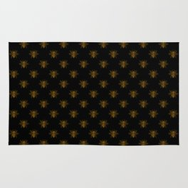 Foil Bees on Black Gold Metallic Faux Foil Photo-Effect Bees Rug