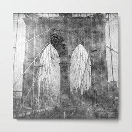 Brooklyn Bridge in Verichrome Metal Print