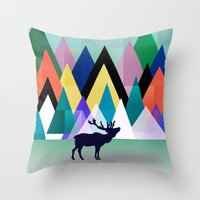 hipster Throw Pillows featuring hipster by mark ashkenazi