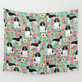English Springer Spaniel florals cute dog art pet portraits by pet friendly dog breeds Wall Tapestry