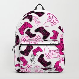 Video Games Pink on White Backpack