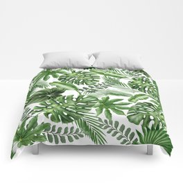 Tropical Leaves Pattern - Monstera and Banana Leaves Comforters