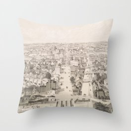 Vintage Pictorial Map of Rochester NY (1854) Throw Pillow