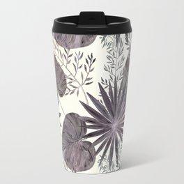 Gray tropical pattern on light beige background. Travel Mug