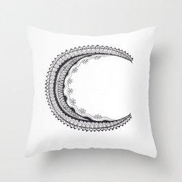 Crescent Mandala Moon Throw Pillow