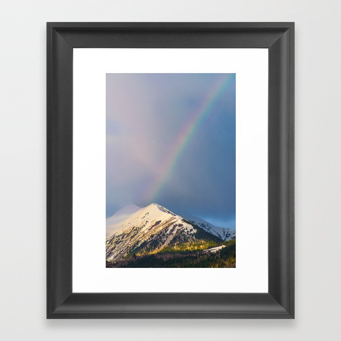 A rainbow over the Caucasus Mountains Framed Art Print